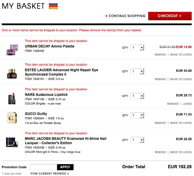 Bestellen bei Sephora–Bezahlung, Abwicklung, Versand, Zoll ...