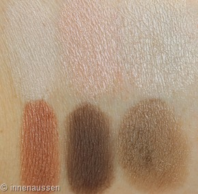 Maybelline The blushed Nudes Lidschatten Swatches Innen Aussen 1